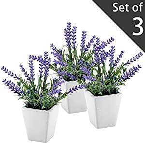 MyGift 7.5 Inch Tall Artificial Lavender Plant with Ceramic Pot, Faux Flower Decor, Set of 3 8