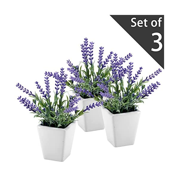 MyGift 7.5 Inch Tall Artificial Lavender Plant with Ceramic Pot, Faux Flower Decor, Set of 3