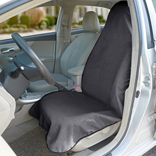 Grey Bucket Seat Covers - Grey Waterproof Sweat Towel Front Bucket Seat Cover for Car Trucks suv Anti-slip Backing Machine Washable Fitness Gym Extreme Crossfit Triathlon Beach Surfing Outdoor Water Sports