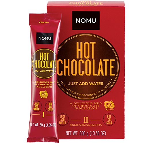 (NOMU On-The-Go Hot Chocolate Packets (10 count) 1.06oz - Just Add Water Gourmet Instant Cocoa Powder Mix Individual Sachets)