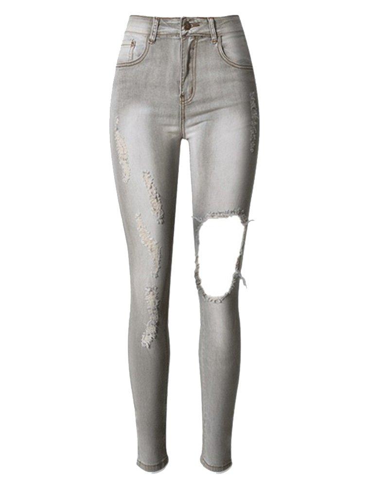 SaiDeng Pantalones Mujer Distressed Elásticos Agujeros Slim Vaqueros Mezclilla Jeans Gris 42
