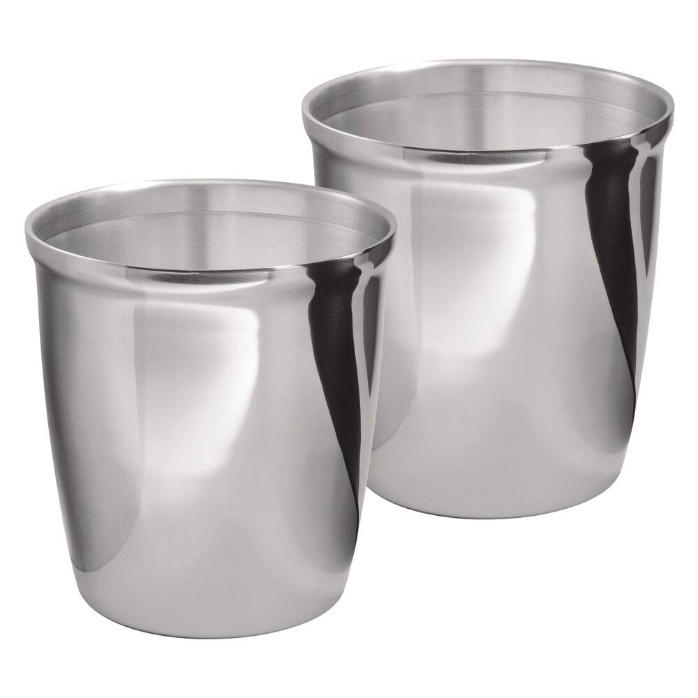 mDesign MetroDecor 2 Piece, Wastebasket Trash Can for Bathroom, Kitchen, Office, Polished Stainless Steel