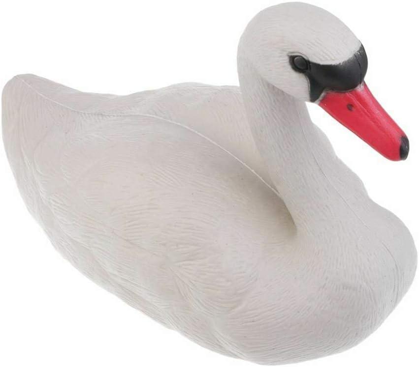 KOET Swan Decoy, White Floating Swan Statue Decorations, Pond Bird Deterrent Ornament Resin Pond Goose Duck for Garden Park Swan Bird Scarecrow