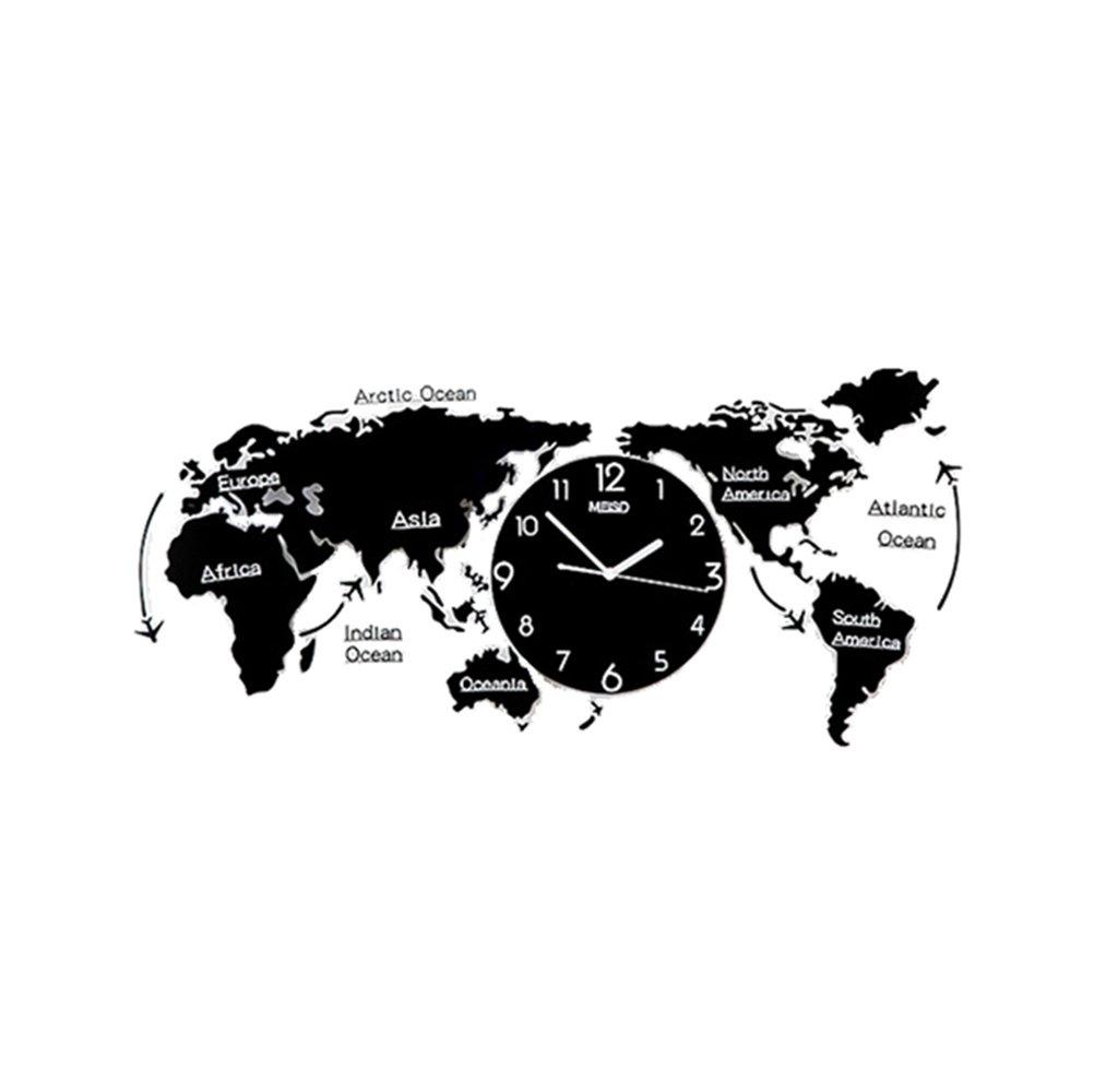 SZQ 世界の壁時計クリエイティブ装飾サイレントレトロ黒と白のアクリル&リビングルーム/ベッドルーム/ホテル/バー 正確 (色 : Black-55 * 120CM) B07FDXMZ1D Black-55*120CM Black-55*120CM