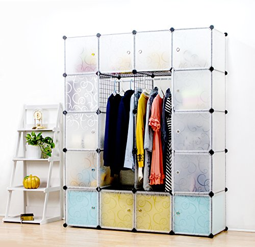 UNICOO - Multi Use DIY 20 Cube Organizer, Wardrobe, Bookcase, Storage Cabinet, Wardrobe Closet With Design Pattern - (Deeper Cube, Semitransparent)