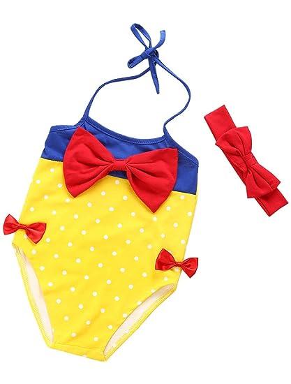 ARAUS Niñas Traje de Baño de una piezaPrincesa Cuello Halter para Bebé Bownot Bañador Mameluco Ropa + Banda del Pelo Verano, 6 Meses-3 Años