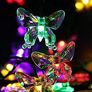 Qedertek Solar Outdoor String Lights, 24.6ft 40 LED Butterfly Fairy Christmas Lights Decorative Lighting for Indoor, Home, Fence, Garden, Patio, Lawn, Party and Holiday Decoration (Multi Color)