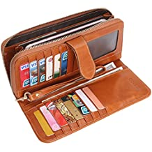 Heshe Women's Leather Wallets Long Card Case Holder Money Clips Handbag Large Capacity With Wristlet