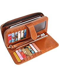 Heshe Women's Leather Wallets Long Card Case Holder Money Clips Handbag Large Capacity With Wristlet