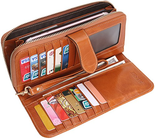 Wallets Money Clips Card Case Holder Large Capacity Purse for Ladies with Wrist Strap (Camel-E) ()