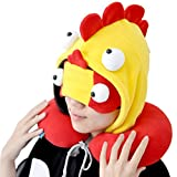 OLizee Cartoon Monster Hooded Balaclava U-shaped Neck Pillow Travel Nap Car Headrest Cushion with Eye Mask(Spain)
