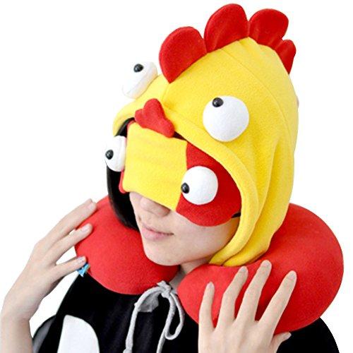 OLizee Cartoon Monster Hooded Balaclava U-shaped Neck Pillow Travel Nap Car Headrest Cushion with Eye Mask(Spain) by OLizee