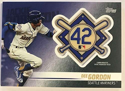 (2018 Topps Update and Highlights Baseball Series Jackie Robinson Day Manufactured Medallion Patch #JRP-DG Dee Gordon Sea Official MLB Trading Card)