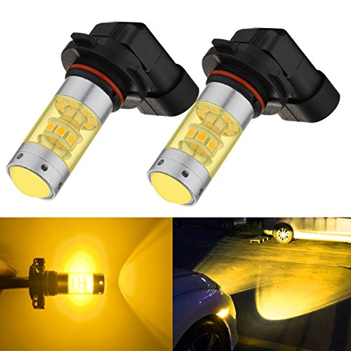 Amber Led Fog Lights - BOGAO High Power 3000 Lumens 3030 SMD Super Extremely Bright Gold Yellow H10 9145 9045 9140 9040 LED Bulbs for Fog Light Lamps Replacement (Gold Amber Yellow H10)