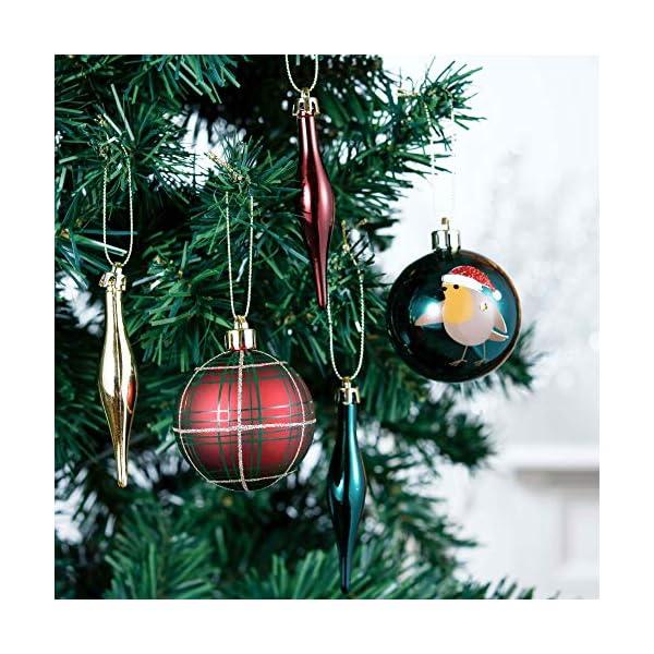 Valery Madelyn Palle di Natale 70 Pezzi di Palline di Natale, 3-6 cm di Strada di Campagna Rosso Verde e Oro Infrangibile Ornamenti di Palla di Natale Decorazione per la Decorazione 4 spesavip