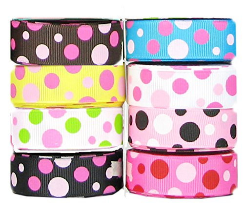 HipGirl Polka Dot Printed Ribbon & Fabric Tape Value Pack (40yd(8x5yd) 5/8