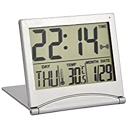 TRIXES Silver Digital LCD Desk Top Temperature Alarm Clock