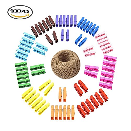 Colored Wood Rainbow (100 Pcs Mini Colored Natural Wooden Clothespins Photo Paper Peg Wooden Mini Clips Craft Pegs with 30M Jute Twine)