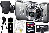 Canon PowerShot ELPH 160 20.0MP Digital Camera (Silver) + 32GB Card + Reader + Case + Accessory Bundle