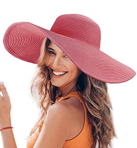 Dafunna Women Floppy Straw Hat Wide Brim Beach Sun Hat with Adjustable Drawstring Rose Red