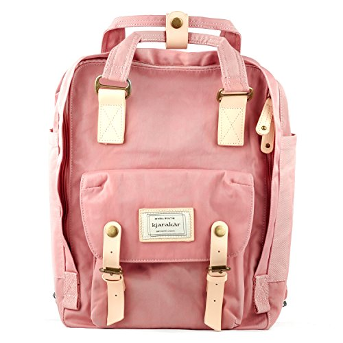 Kjarakar (Pink) Vintage School Laptop Travel Commuter Backpack