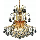 Elegant Lighting 8001D19G/RC Royal Cut Clear Crystal Toureg 10-Light, Two-Tier Crystal Chandelier, Finished In Gold with Clear Crystals