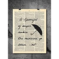 Mary Poppins Umbrella Quote Dictionary Art Print - Spoonful of Sugar Quote- Vintage Dictionary Art Decor Home Vintage Art Abstract Prints Wall Art for Home Decor Wall Decorations - Print Only