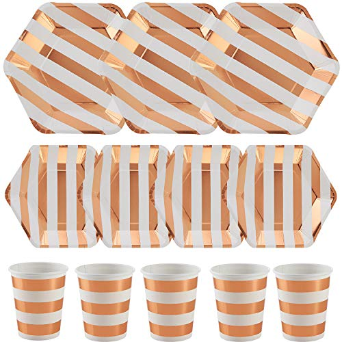 ALINK 150PCS Biodegradable Rose Gold Striped Disposable Paper Plates Cups Set, 50 Dinner Plates, 50 Salad Plates,50 Paper Cups for Birthday Party, Wedding, Thanksgiving, Christmas, Bridal/Baby -