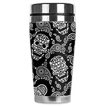 "Mugzie 944-MAX ""White Sugar Skulls"" Stainless Steel Travel Mug with Insulated Wetsuit Cover, 20 oz, Black"