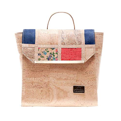 Montado Vegan Cork Backpack with Patchwork Pattern and Metal Detail on Flap