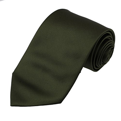Dan Smith DAA3C01A Dark Olive Green Neckwear CheckeRed Microfiber Designer Necktie