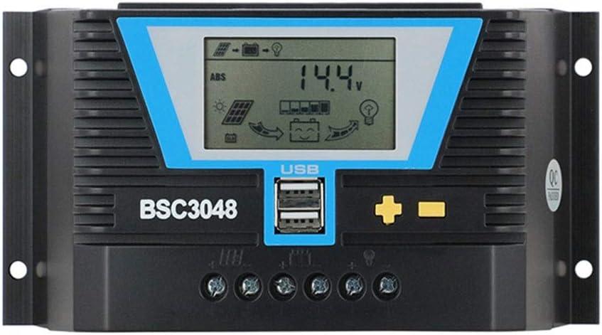 GNY Solar Charge Controller 20A 30A 60A 80A PWM Controlador Solar 12V 24V 36V 48V Retracción de retroiluminación-LCD Regulador de batería de Litio Light Control DE Tiempo Dual Y USB