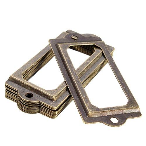 (Vivona Hardware & Accessories 12Pcs Antique Brass Metal Label Pull Frame Handle File Name Card Holder for Furniture Cabinet Drawer Case)
