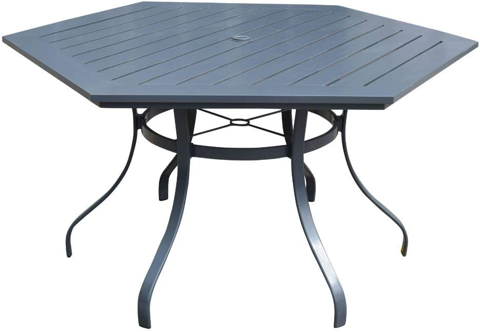 "Courtyard Casual 5172 Santa Fe Collection 60"" Aluminum Slat Hexagon Shape Dining Table, Silver"