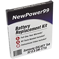 Samsung GALAXY Tab S2 8.0 SM-T715 Battery Replacement Kit with Video Installation DVD, Installation Tools, and Extended Life Battery