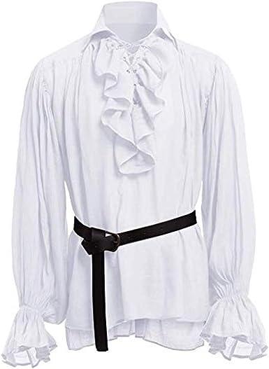 ღLILICATღ Camisa con Cordones renacentista Medieval Túnica Medieval Traje Caballero Viking Guerrero Camiseta con Cinturón para Hombres Disfraz de Pirata de la Edad Media: Amazon.es: Ropa y accesorios