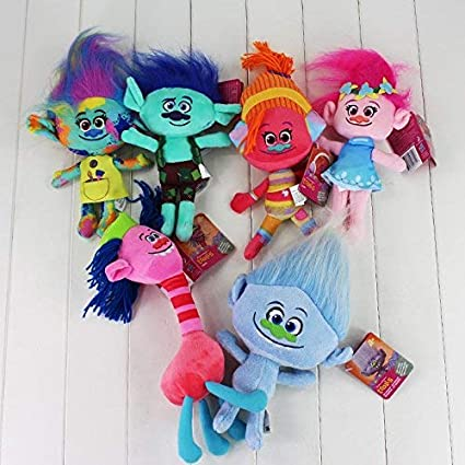 HT TOYS 6pc/Set Trolls Toy Poppy Branch DJ Suki Cooper McKenzie Guy Diamond Plush Toy Stuffed Dolls with Long Hair 23-30cm