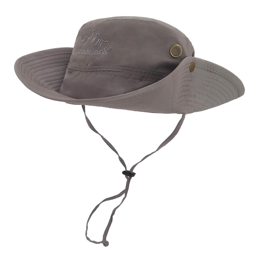 LETHMIKアウトドア防水Boonie帽子Wide Brim通気性Hunting Fishing Safari Sun Hat B06XGZLMCZ One Size (Adjustable)|グレー グレー One Size (Adjustable)