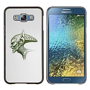 YiPhone /// Prima de resorte delgada de la cubierta del caso de Shell Armor - Cráneo grande Extranjero verde Angry Espacio Art Dibujo - Samsung Galaxy E7 E700