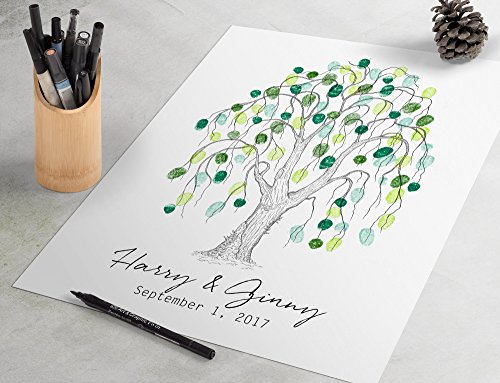 - Black and White Fingerprint Guest Book - Classic Willow Tree Fingerprint Guestbook is a charming wedding guest book alternative.