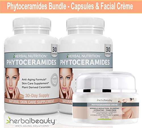Phytoceramides Kit 2 Bottles Rice Based Capsules Plus 1 Jar of Phytoceramides Cream Anti-Aging Remedy for Skin Hair Nails Attack Aging Skin from The Inside and Out (Phytoceramides Without Vitamins)