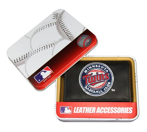 (MLB Minnesota Twins Embroidered Genuine Cowhide Leather Trifold Wallet)