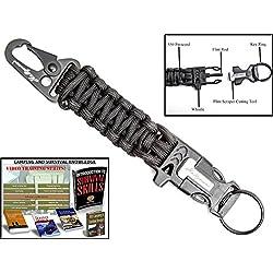 Holtzman's #1 Best paracord keychain carabiner survival tool (Black)