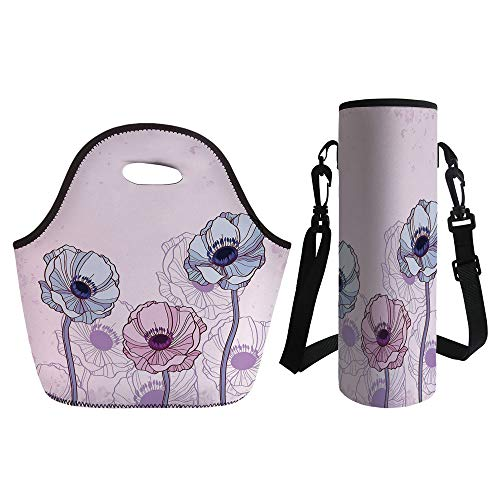 3D Print Neoprene lunch Bag with Kit Neoprene Bottle Cover,Anemone Flower,Retro Grunge Display with Graphic Anemone Field Buds Leaves Decorative,Light Pink Lilac Baby Blue,for Adults Kids