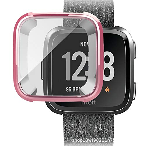 Silm for Fitbit Versa Watch Cases,Super Thin Plating TPU 360 Whole Body Screen Protector Cover (Rose Gold, Fitbit Versa)