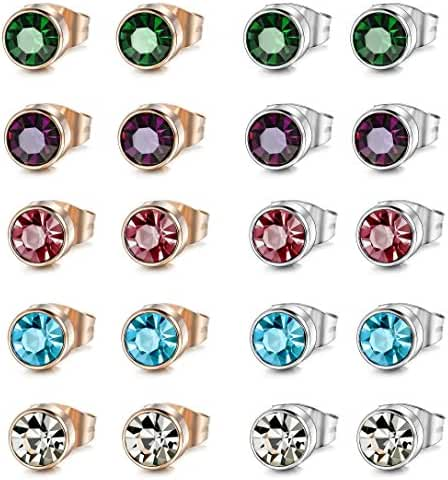 ORAZIO 10 Pairs Stainless Steel Women Stud Earrings Men Piercing Earrings Set 4-6mm