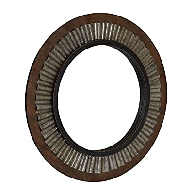Household Essentials Wood Framed Sunburst Metal Mirror, Brown - Large round decorative wall mirror Combines wood and metal for rustic charm Brightens small spaces and creates a focal point for a room - mirrors-bedroom-decor, bedroom-decor, bedroom - 51Feu5IehmL. SS400  -
