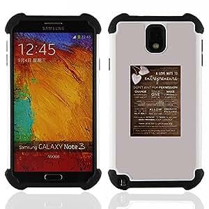 For Samsung Galaxy Note3 N9000 N9008V N9009 - poster love heart brown grey valentines Dual Layer caso de Shell HUELGA Impacto pata de cabra con im????genes gr????ficas Steam - Funny Shop -