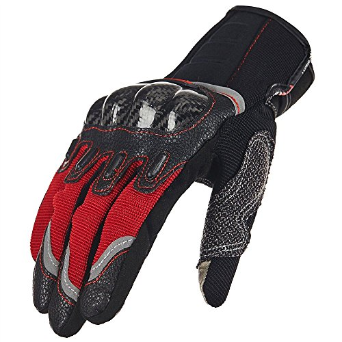 ILM Carbon Fiber Air Motorcycle Gloves Touchscreen Full Finger Outdoor Summer Gloves (L, RED)