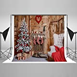 Kate 20ft(W)x10ft(H) Christmas Backdrop Decorations Microfiber Christmas Fireplace Photography Backdrops Xmas Photo Background